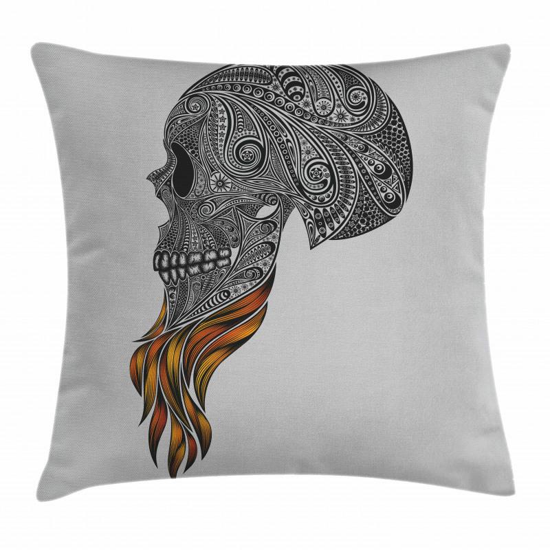 Abstract Art Skull Beard Pillow Cover