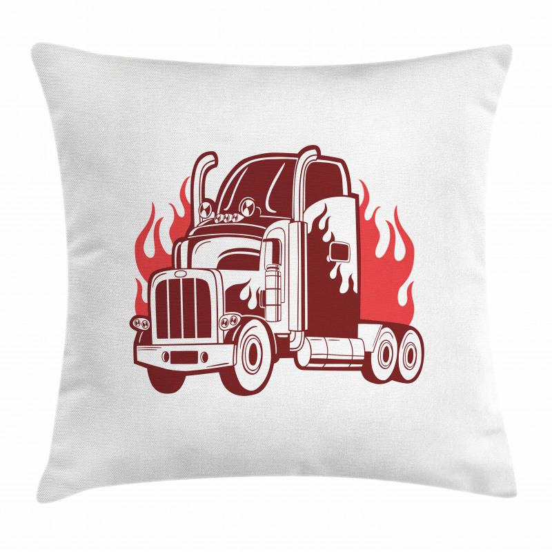 18 Wheeler Silhouette Pillow Cover