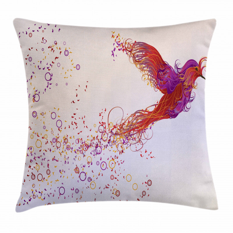 Curly Feather Hummingbird Pillow Cover