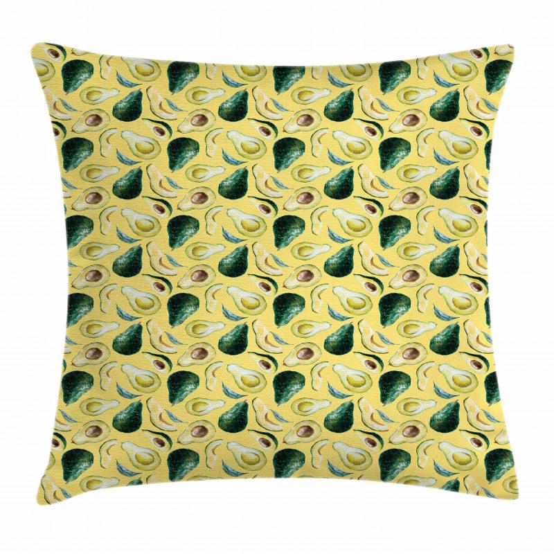 Avokado Minder Kılıfı Sulu Boya Tarzında Çizilmiş Sağlıklı Meyve