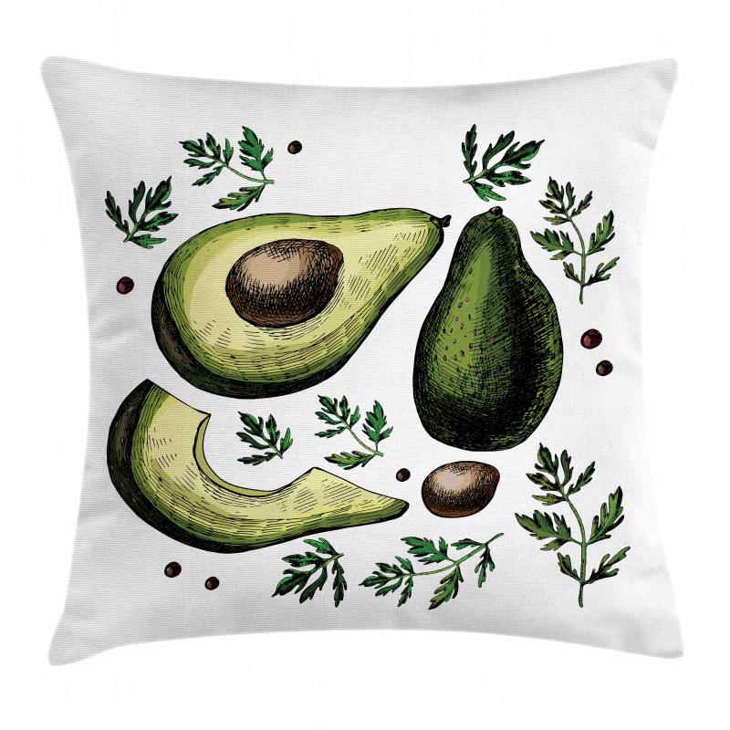 Avokado Minder Kılıfı Farklı Parçaları Gösterilen Sağlıklı Meyve