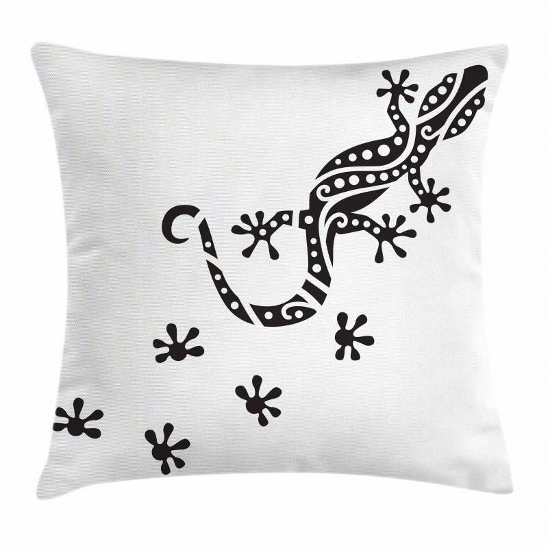 Lizard and Footprints Pillow Cover