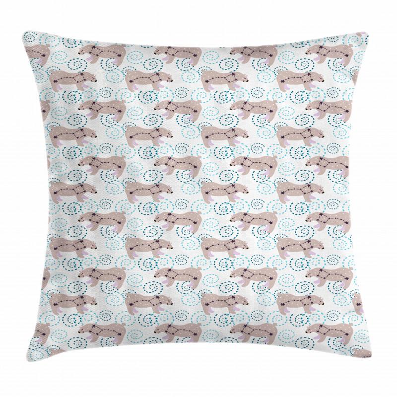 Cartoon Bears Stars Swirls Pillow Cover