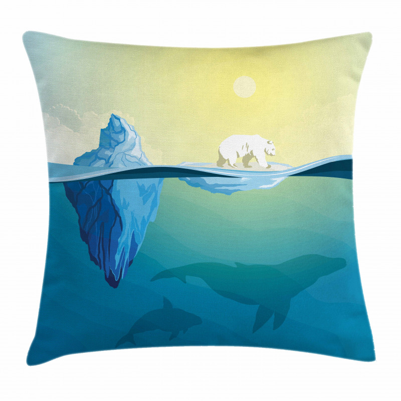 Ice Melting in Ocean Pillow Cover