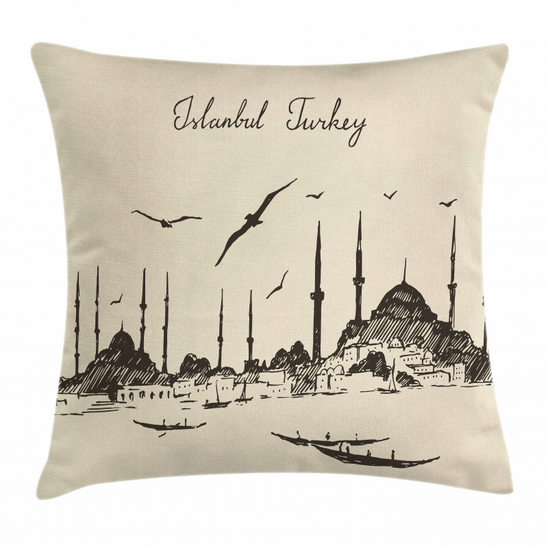 Sketch Skyline Gulls Pillow Cover