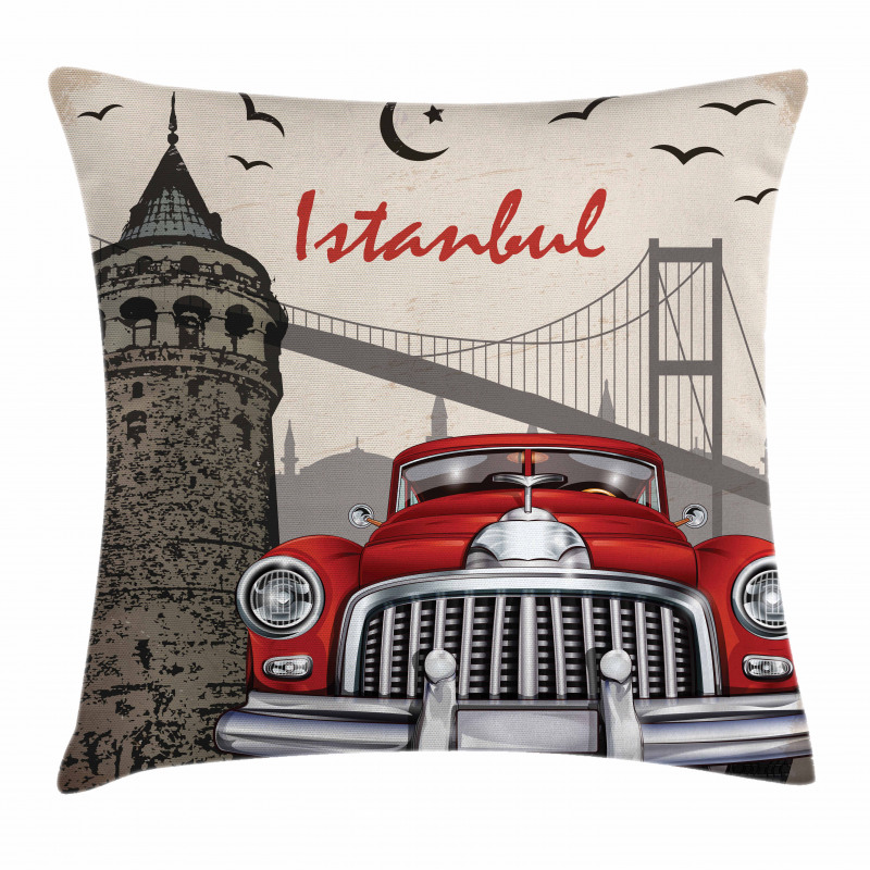 Vintage City Scenery Pillow Cover