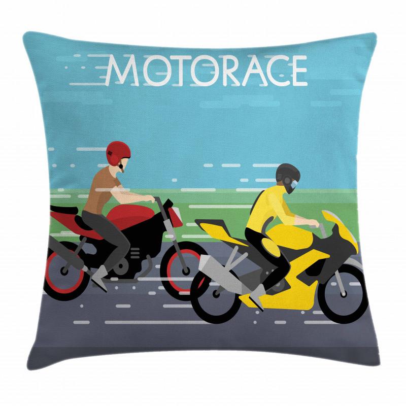 2 Bikers Racing Pillow Cover