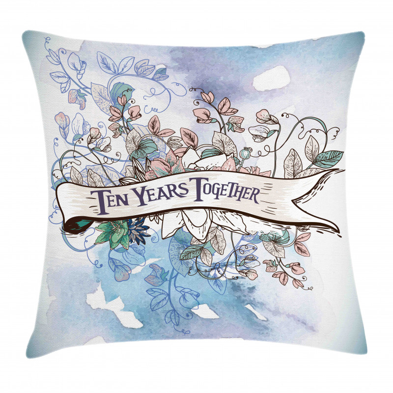 10 Years Floral Art Pillow Cover