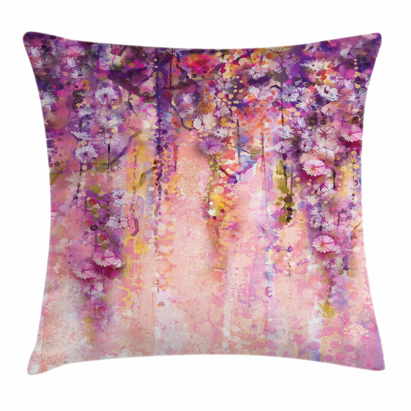 Watercolor Wisteria Blooms Pillow Cover