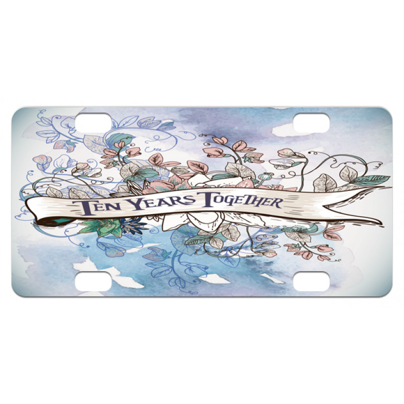 10 Years Floral Art Mini License Plate