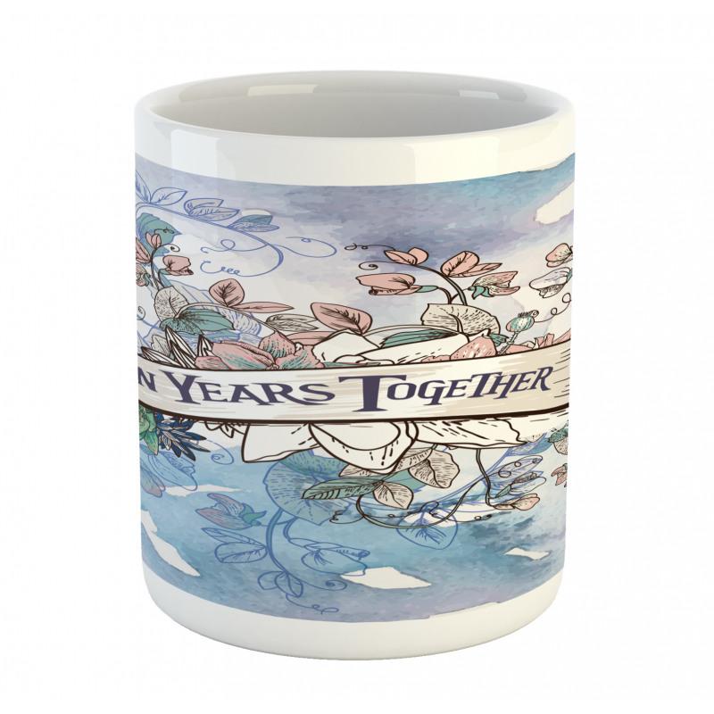 10 Years Floral Art Mug