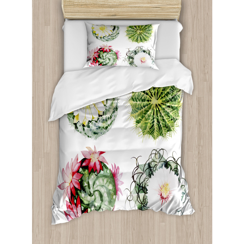 Cactus Duvet Cover Set with Pillow Shams Exotic Bouquet Vintage Print