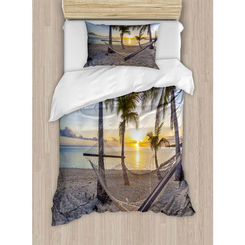 Paradise Beach Palms Duvet Cover Set