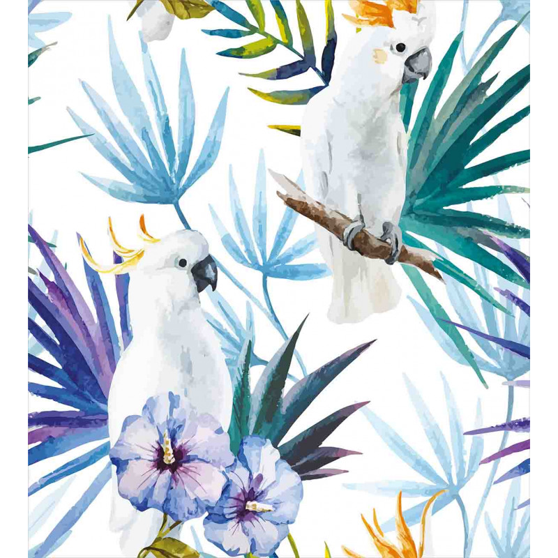 Watercolor Parrot Palm Duvet Cover Set