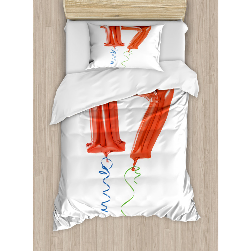 17 Party Red Balloons Duvet Cover Set