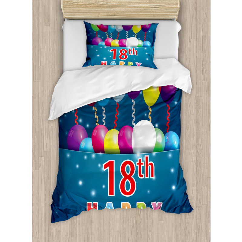 18 Birthday Balloons Duvet Cover Set