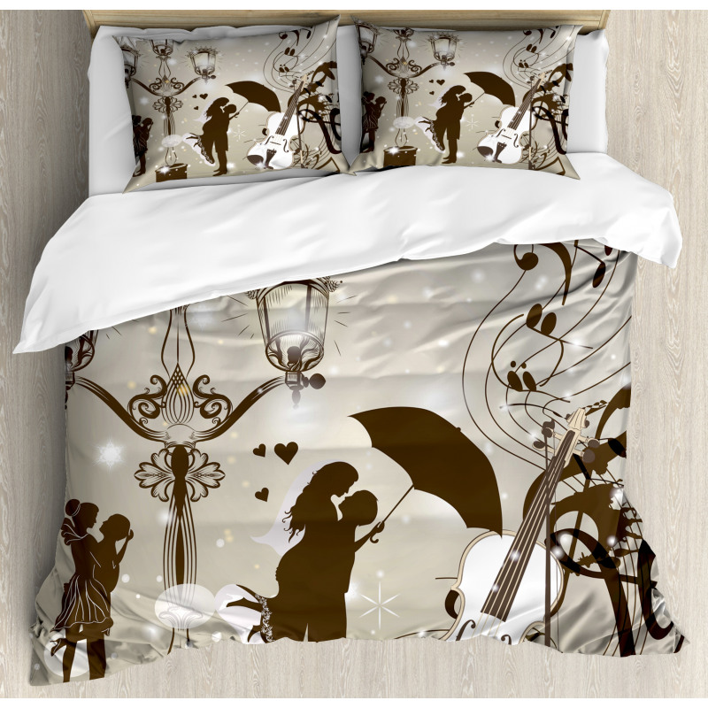 Kissing Couples Music Duvet Cover Set