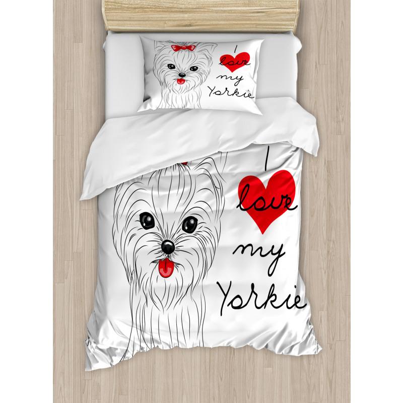 I Love My Yorkie Terrier Duvet Cover Set