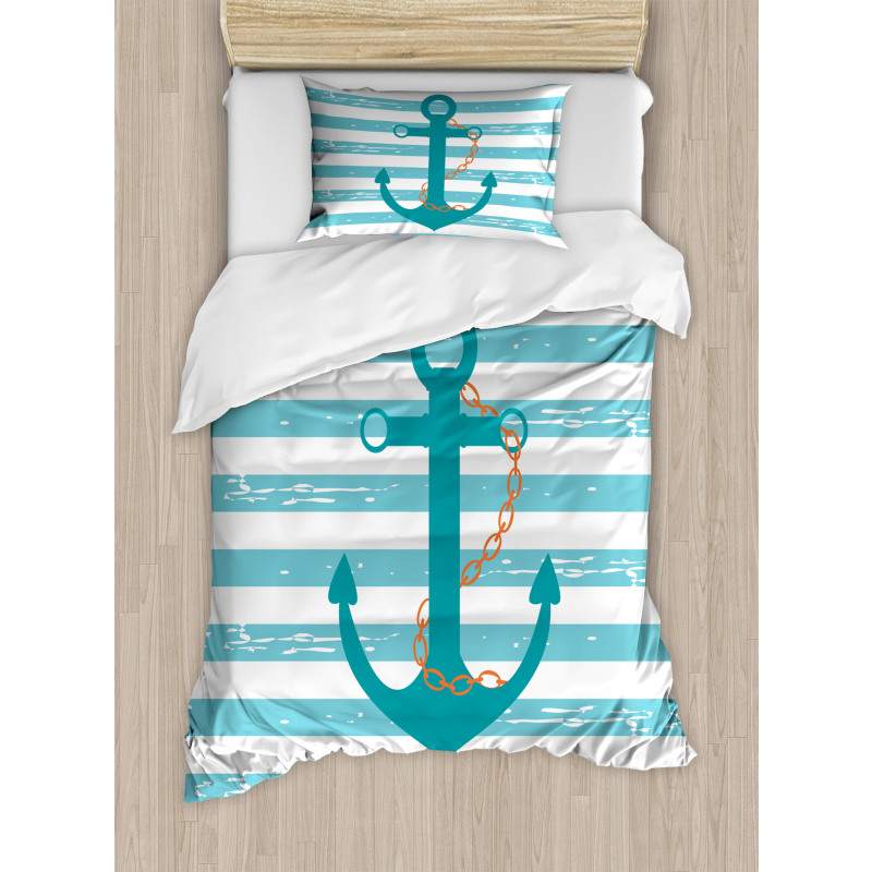 Ship Anchor Marine Life Duvet Cover Set