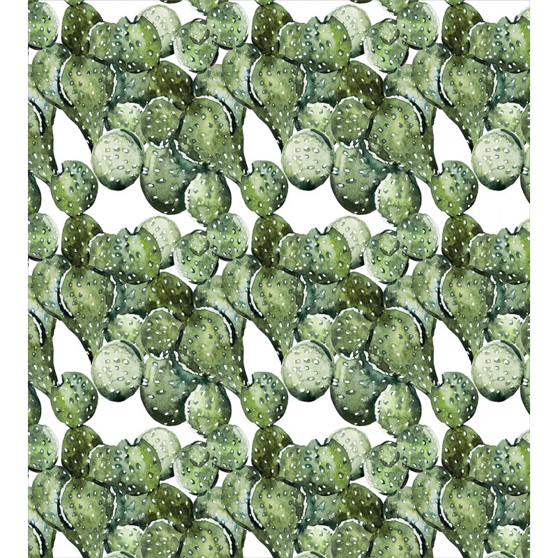 Opuntia Plant Watercolor Duvet Cover Set