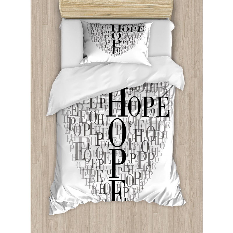 Heart Shaped Hope Word Duvet Cover Set