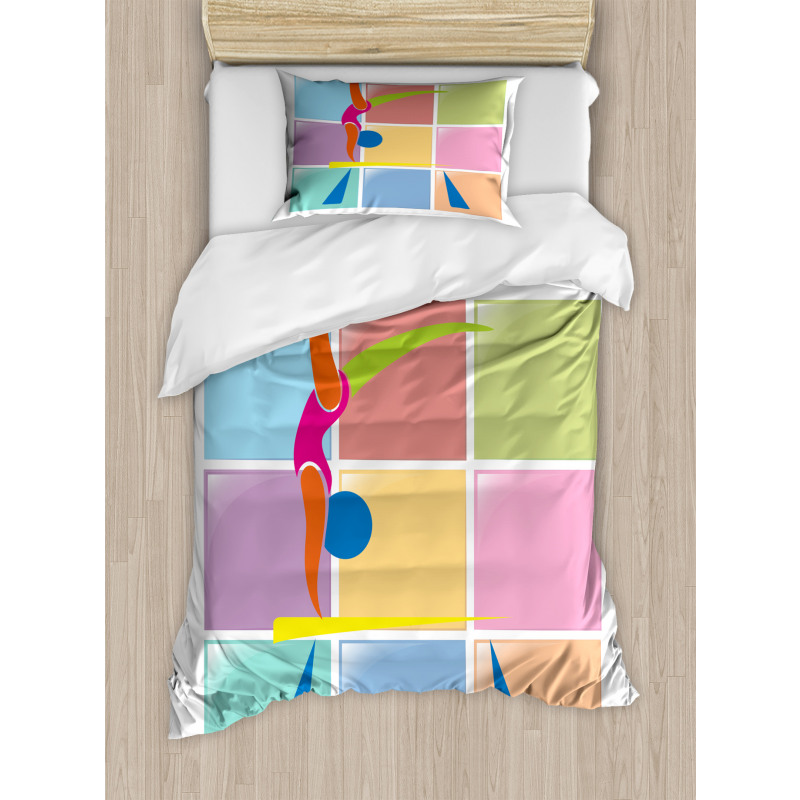 Abstract Athlete Duvet Cover Set