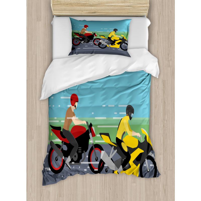2 Bikers Racing Duvet Cover Set