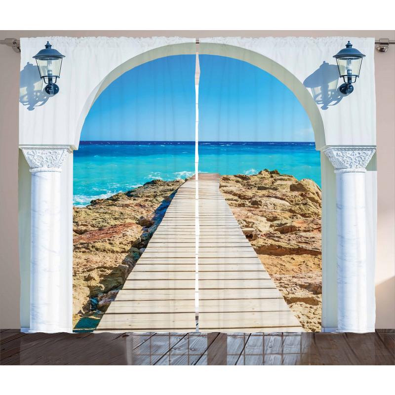 Sea with a Quay Coast Curtain