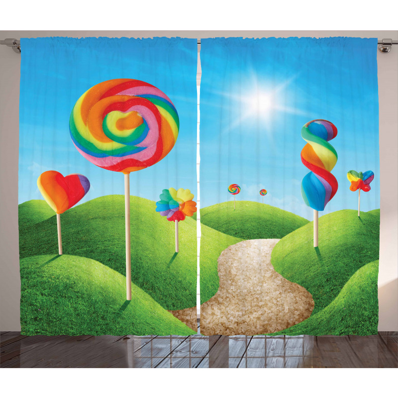 Çocuklar için Perde Rengarenk Şeker Temalı