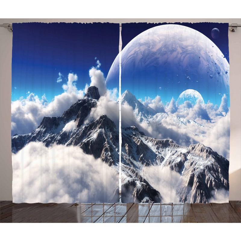 Dijital Sanat Perde Karlı Dağlar Temalı