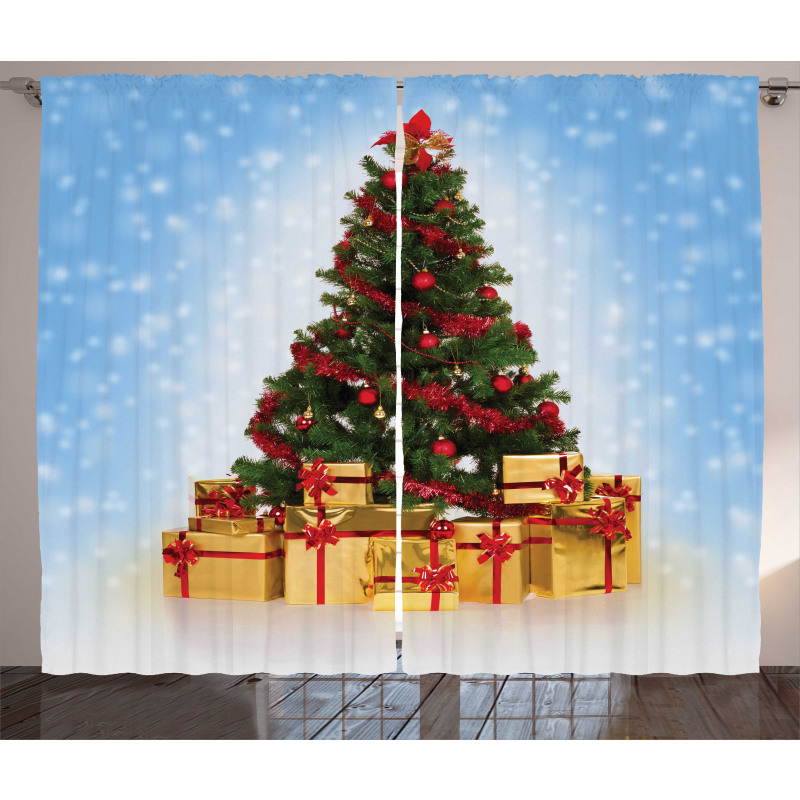 Fir Tree Snowy Weather Curtain