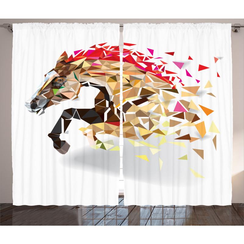 Abstract Art Wild Horse Curtain