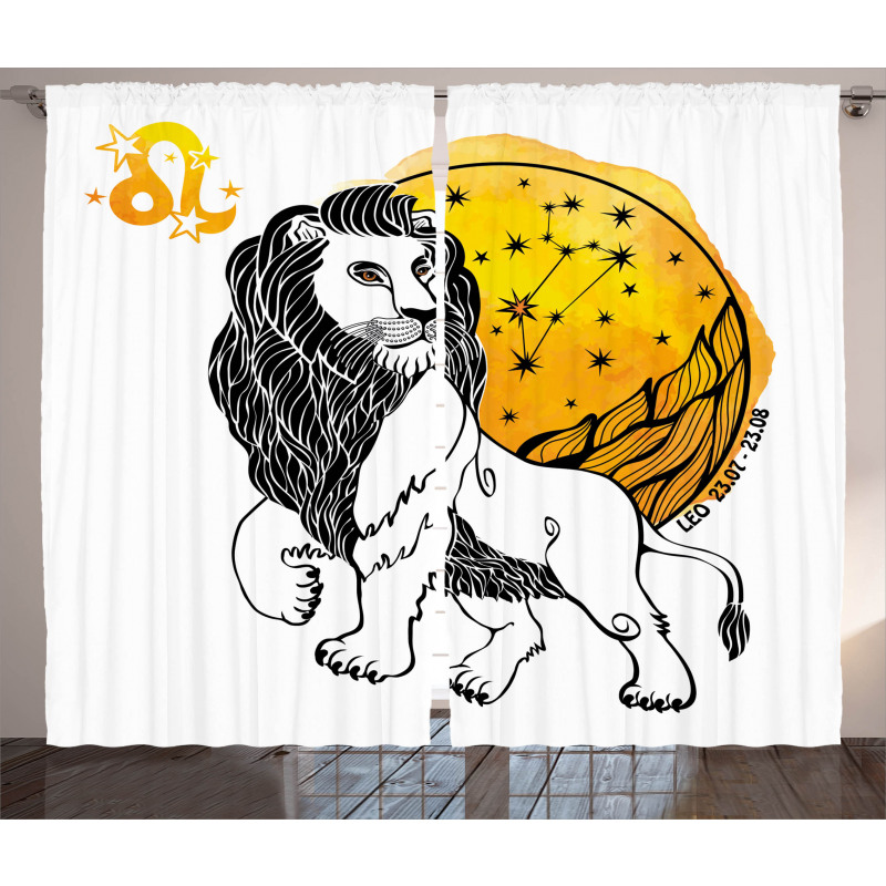 Zodiac Leo Art Curtain