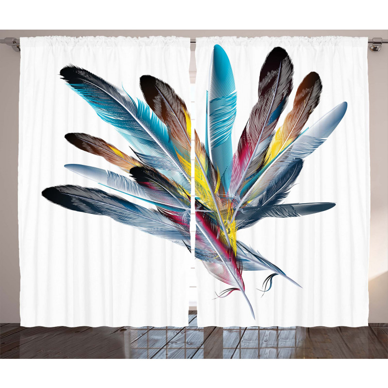 Colorful Feathers Old Pen Curtain