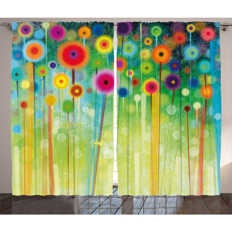 Abstract Art Dandelion Curtain