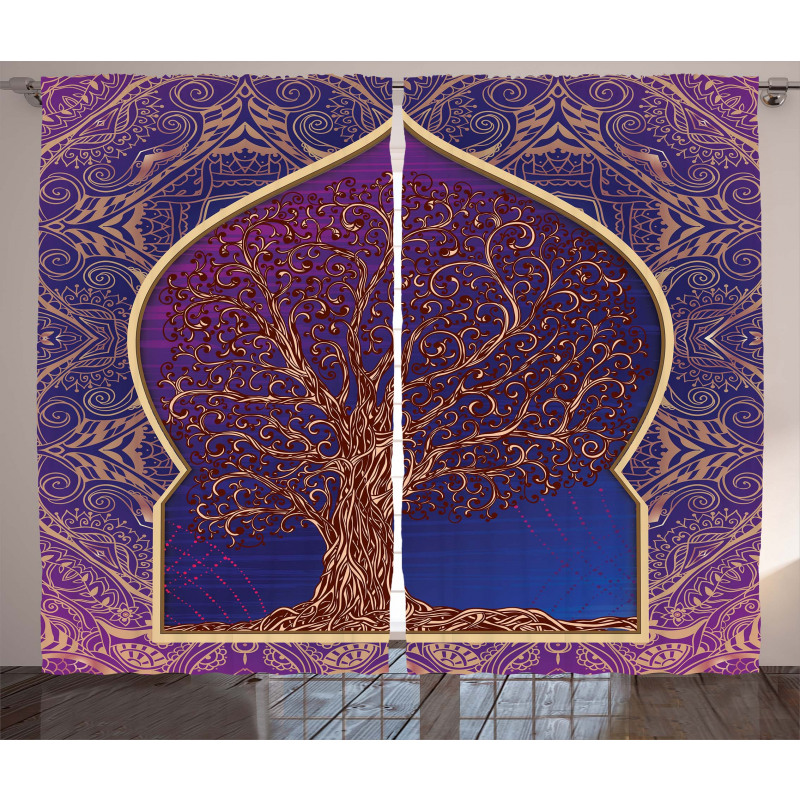 Retro Eastern Branches Curtain