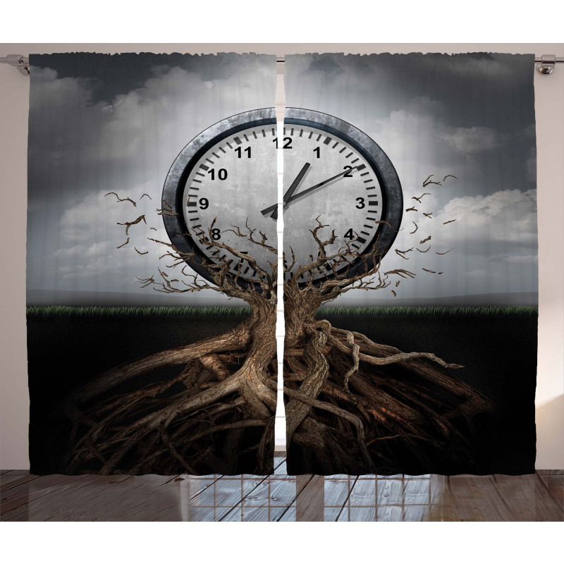 Clock Surrealist Curtain
