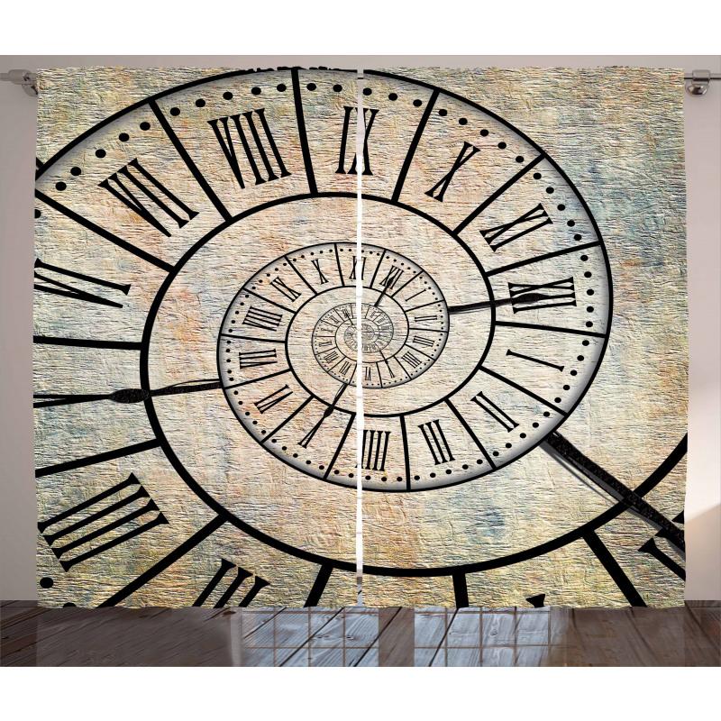 Roman Digit Time Spiral Curtain
