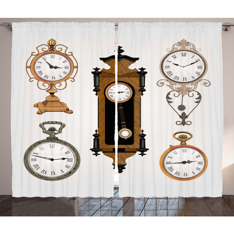 Antique Clocks Pattern Curtain