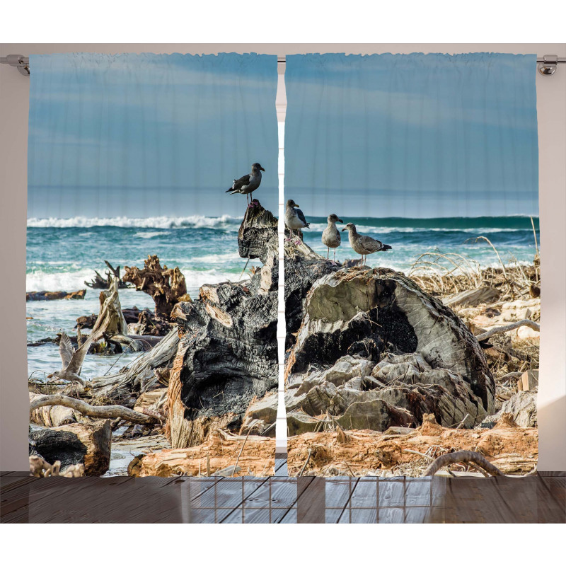 Driftwood Shore Seagull Curtain