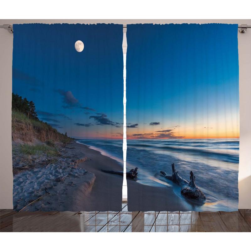 Moon in Sky Lake Curtain