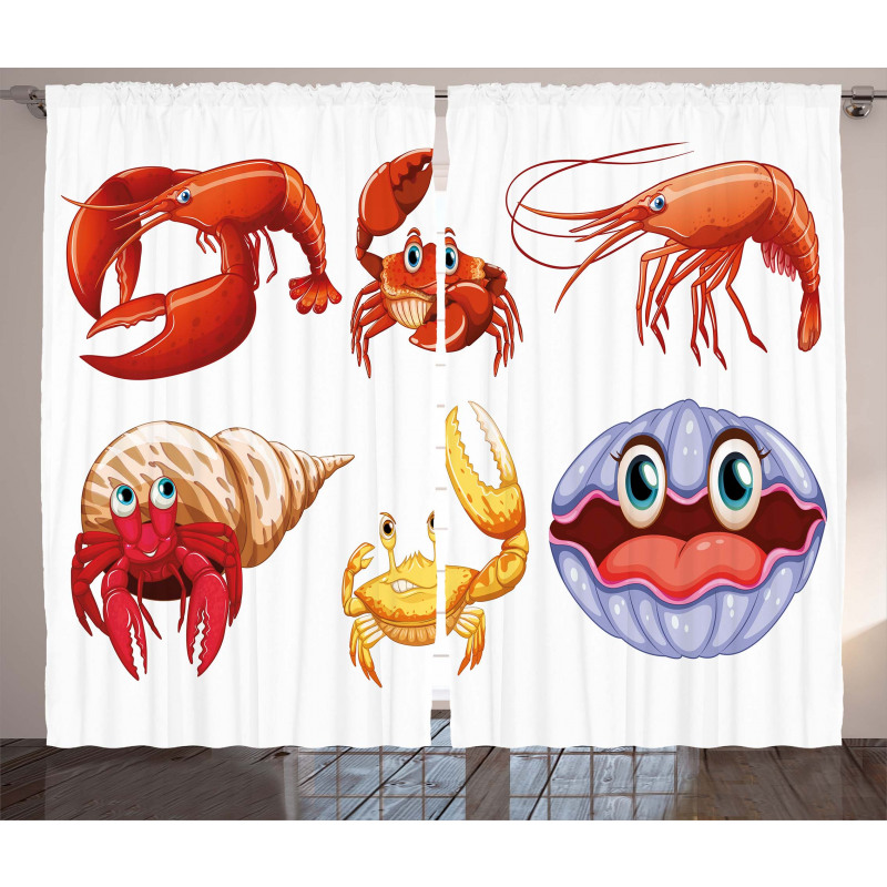 Crab Hermit Crab Lobster Curtain
