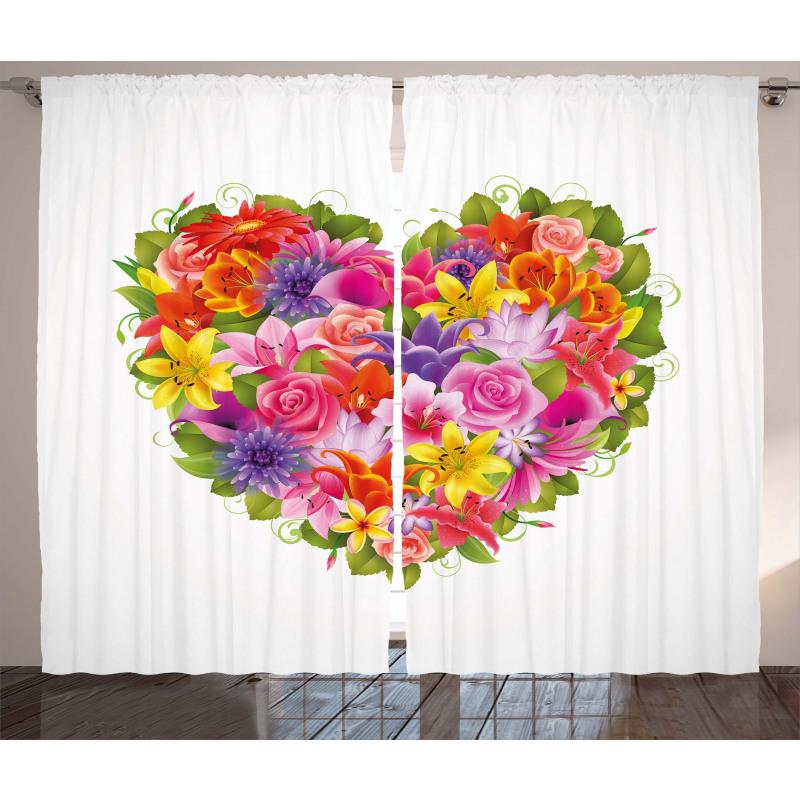 Flower Rose Leaf Curtain