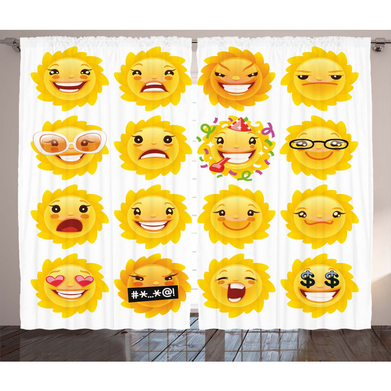 Smile Surprise Angry Mood Curtain