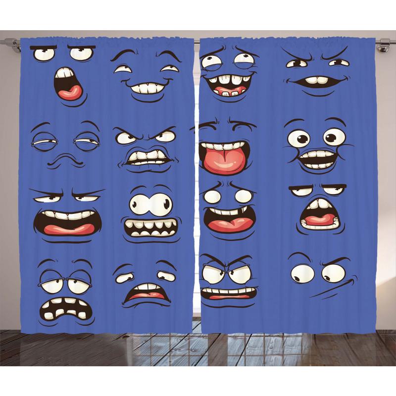Surprised Sad Fierce Mood Curtain
