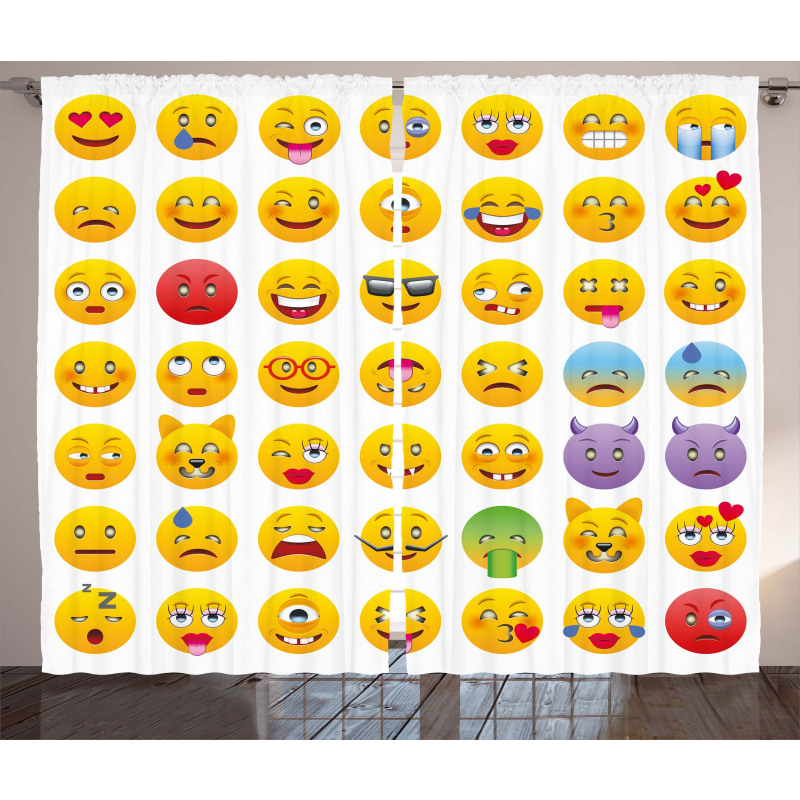 Faces of Mosters Happy Curtain