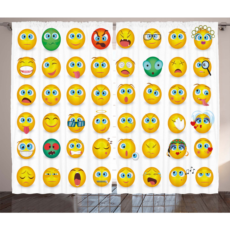 Couple Monster Face Moods Curtain