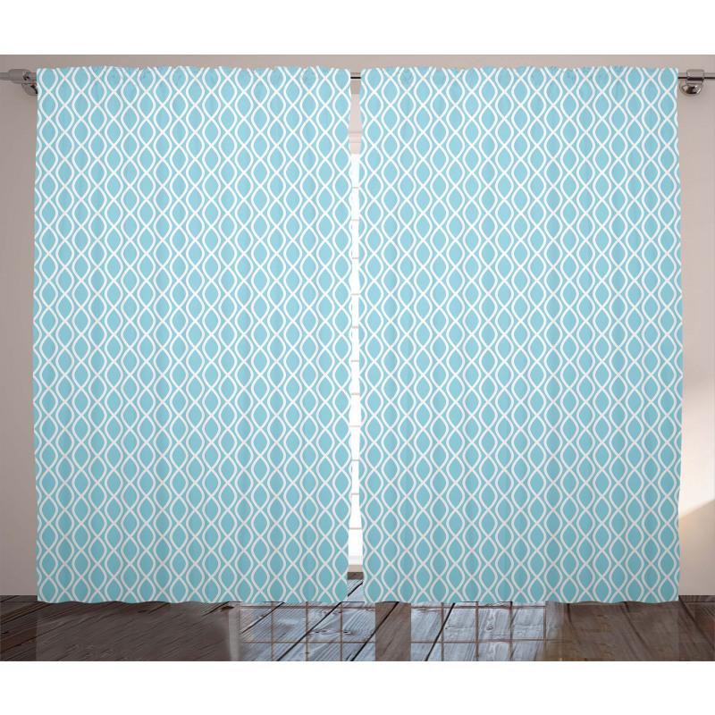Wavy Water Lines Circled Curtain