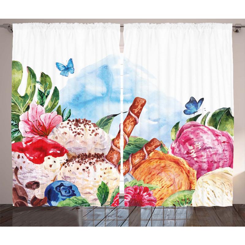 Dessert and Flower Art Curtain