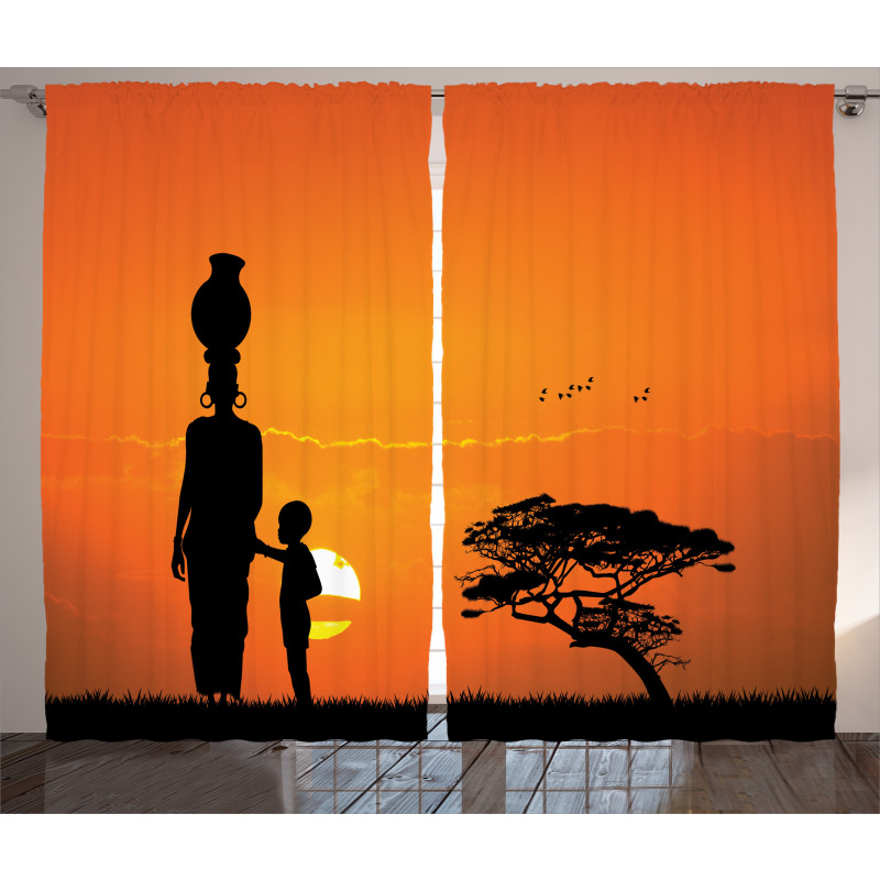 Child and Mother in Desert Curtain